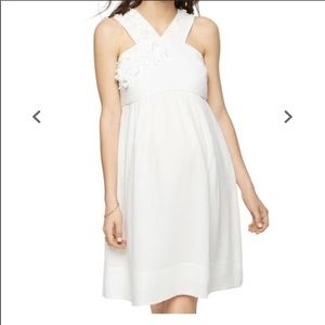 WHITE SILK BEADED PEA IN A POD DRESS